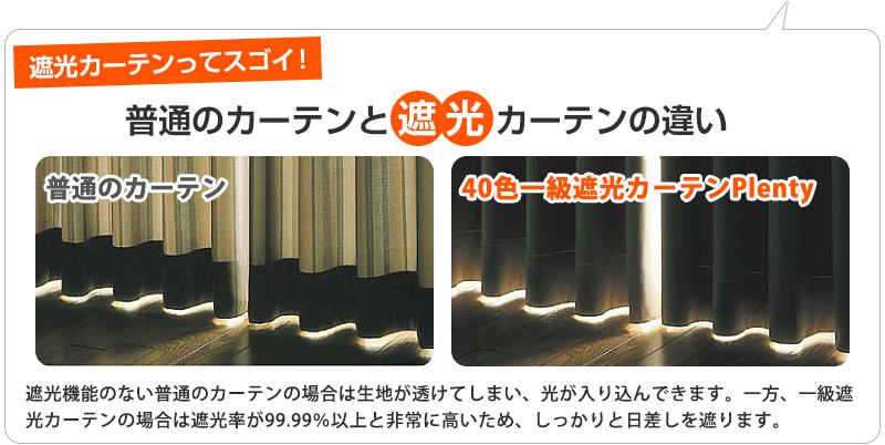 普通のカーテンと遮光カーテンの違い遮光カーテンってスゴイ!遮光昨日のない普通のカーテンの場合は生地が透けてしまい、光がはいりこんできます。一方一級遮光カーテンの場合は遮光率99,99%以上と非常に高いため、しっかりと日差しを遮ります。