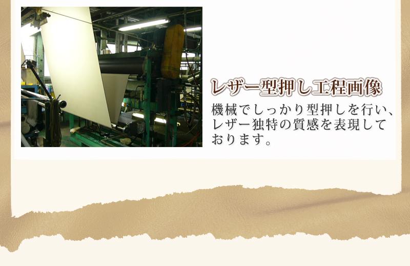 機械でしっかり型押しを行い、レザー独特の質感を表現しております。