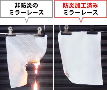 非防炎のミラーレースカーテンと、防炎加工済みのミラーレースカーテンの燃焼比較イメージ
