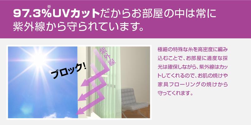 97.3%UVカットだからお部屋の仲は常に紫外線から守られています。