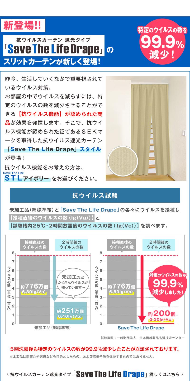新登場!抗ウイルスカーテン 遮光タイプ SaveTheLifeDrape のスリットカーテンが新しく登場!