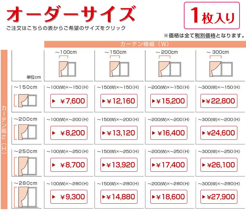 オーダーサイズ表