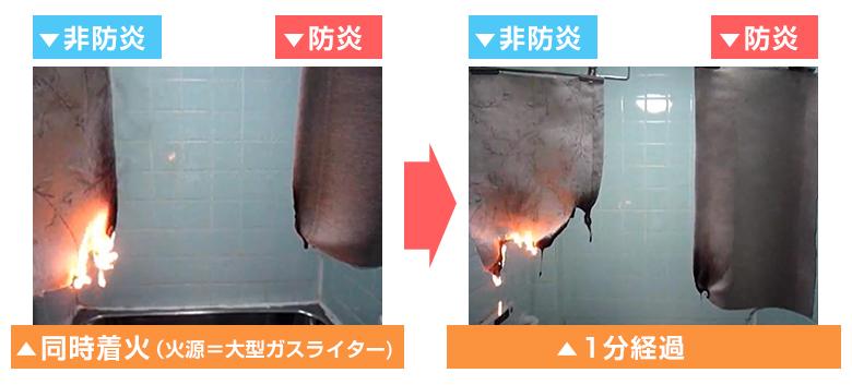 防炎カーテンのライター燃焼実験画像