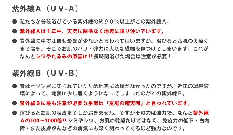 紫外線Aと紫外線Bについて