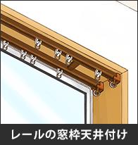 レールの窓枠天井付け