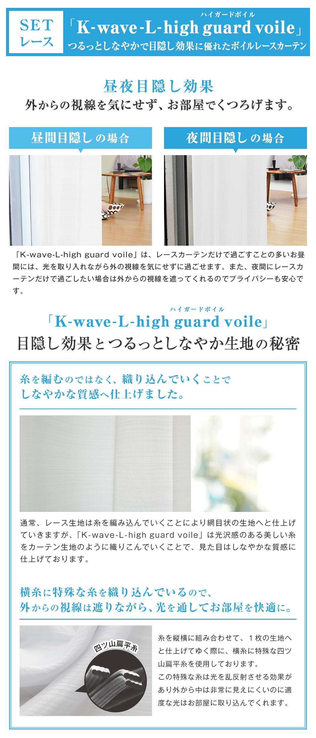 SETレースカーテン 「K-wave-L-high guard voile」つるっとしなやかで目隠し効果に優れたボイルレースカーテン