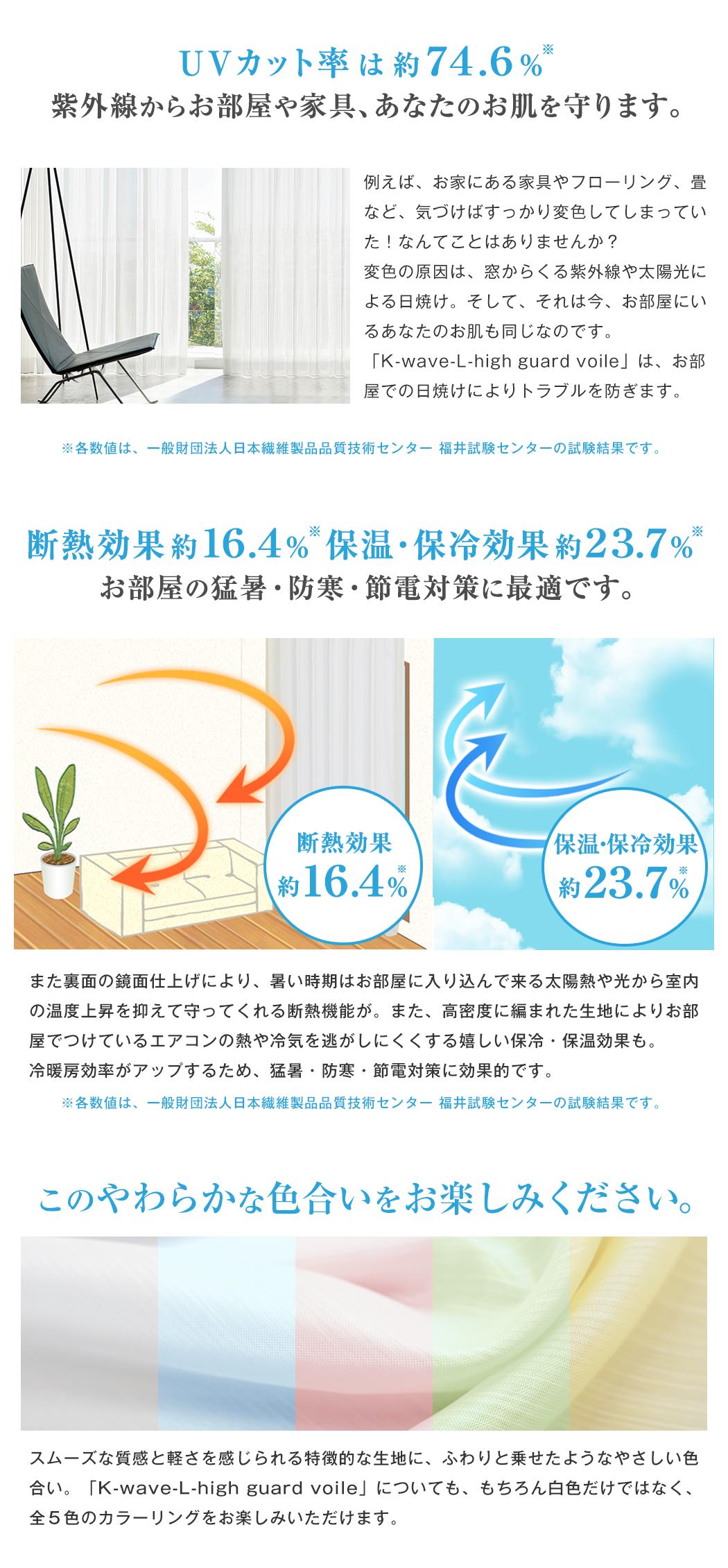 UVカット率は約74.6#%、断熱効果約16.4%、保温・保冷効果約23.7%